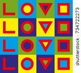 love typography. creative love... | Shutterstock .eps vector #734722273