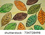Hand Painted Autumn Leaves On...