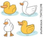 vector set of duck | Shutterstock .eps vector #734731198