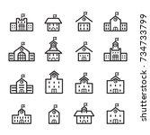 school building line icon | Shutterstock .eps vector #734733799