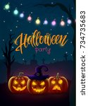 halloween background  pumpkin ... | Shutterstock .eps vector #734735683