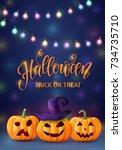 halloween background  pumpkin ... | Shutterstock .eps vector #734735710
