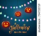 halloween background  pumpkin ... | Shutterstock .eps vector #734735719