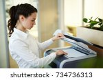 young secretary making... | Shutterstock . vector #734736313