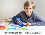 happy child creating new 3d...   Shutterstock . vector #734736580