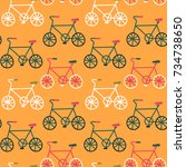 cute hand drawn bike seamless... | Shutterstock .eps vector #734738650
