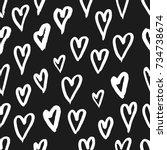 hand drawn texture. hearts ...   Shutterstock .eps vector #734738674