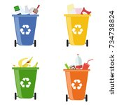 garbage bins. containers for... | Shutterstock .eps vector #734738824