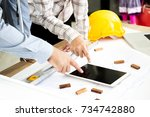 professional engineer team... | Shutterstock . vector #734742880