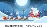 santa riding in sledge with... | Shutterstock .eps vector #734747236