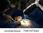 advanced robotic surgery... | Shutterstock . vector #734747344