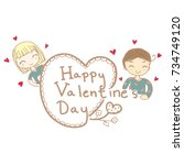 cute doodle of boy and girl... | Shutterstock .eps vector #734749120