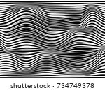 black and white stripes warped... | Shutterstock . vector #734749378