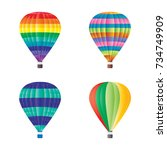 hot air balloons set with... | Shutterstock .eps vector #734749909