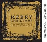 vector christmas grunge... | Shutterstock .eps vector #734750020