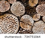 wooden insect hotel for... | Shutterstock . vector #734751064
