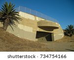 Paul D Bunker Battery casemate 2 part of Fort MacArthur in San Pedro California built in 1942 as WWII U.S.A. coastal defense equipped with a 16-inch naval gun facing the Pacific Ocean at White Point.