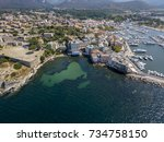 aerial view of the village of... | Shutterstock . vector #734758150