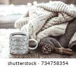 details of still life in the... | Shutterstock . vector #734758354