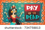 Stock vector day of dead traditional mexican halloween dia de los muertos holiday party decoration banner 734758813