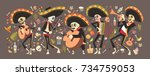 day of dead traditional mexican ... | Shutterstock .eps vector #734759053