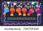 day of dead traditional mexican ... | Shutterstock .eps vector #734759104