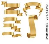 golden ribbon tape banner flag... | Shutterstock .eps vector #734761540