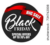 label black friday with red... | Shutterstock .eps vector #734762008