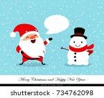 santa claus and snowman.... | Shutterstock .eps vector #734762098