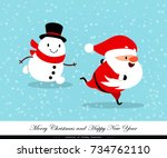 santa claus and snowman run... | Shutterstock .eps vector #734762110