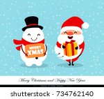 santa claus and snowman with