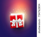 half open christmas gift box... | Shutterstock .eps vector #734762854