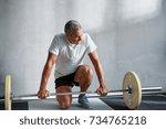 focused mature man in... | Shutterstock . vector #734765218