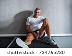 mature man in sportswear... | Shutterstock . vector #734765230