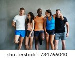 group of fit young friends in... | Shutterstock . vector #734766040