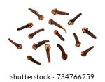 dry spice cloves isolated on...   Shutterstock . vector #734766259
