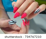 beautiful female hands with... | Shutterstock . vector #734767210
