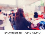 vintage blurred image of people ... | Shutterstock . vector #734773240
