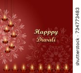happy diwali. indian festival... | Shutterstock . vector #734773483