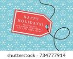 christmas present box card... | Shutterstock .eps vector #734777914