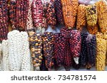 colorful ears of dried corn at... | Shutterstock . vector #734781574