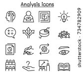 analysis icon set in thin line... | Shutterstock .eps vector #734782909