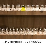 yellow shuttlecock standing out ... | Shutterstock . vector #734783926