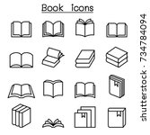 book icon set in thin line style | Shutterstock .eps vector #734784094