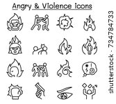 angry   violence icon set in... | Shutterstock .eps vector #734784733