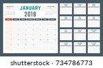 calendar for 2018 starts sunday | Shutterstock .eps vector #734786773