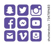 collection of popular social... | Shutterstock . vector #734789683