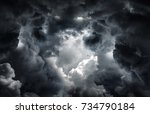 tunnel in the dark and dramatic ... | Shutterstock . vector #734790184