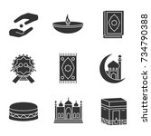 islamic culture glyph icons set.... | Shutterstock .eps vector #734790388