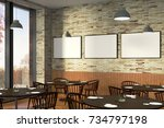 modern restaurant interior with ... | Shutterstock . vector #734797198